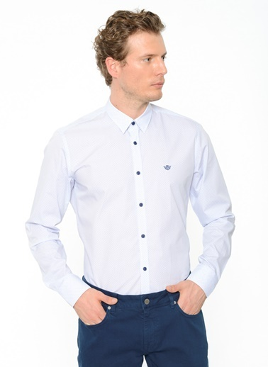 Beymen Business Desenli Uzun Kollu Gömlek Beyaz